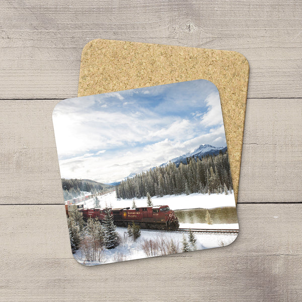 Photo Coaster of CP Rail Train in Banff National Park in Canadian Rockies. Handmade in Edmonton, Alberta by Canadian photographer & artist Larry Jang.