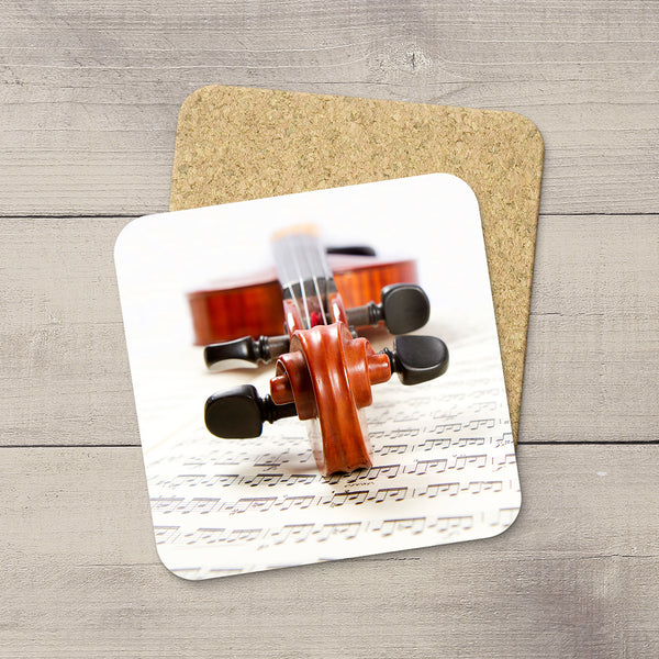 Music Room Accessories. Beverage Coasters featuring Violin scroll & sheet music. For the violin player. Modern functional art by Edmonton artist & photographer Christina Jang.
