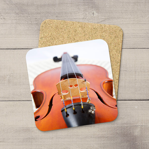Music Room Accessories. Beverage Coasters featuring Violin bridge & Strings. For the violin player. Modern functional art by Edmonton artist & photographer Christina Jang.