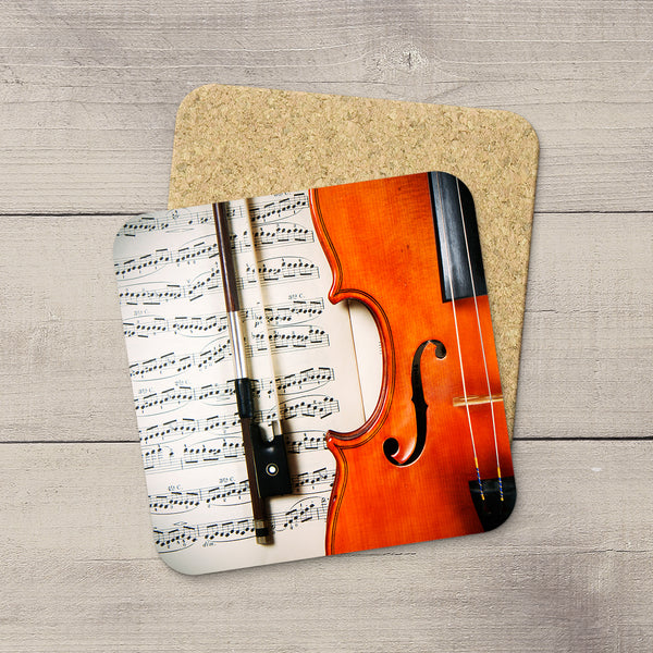 Music Room Accessories. Beverage Coasters featuring Violin F Hole & Bow. For the violin player. Modern functional art by Edmonton artist & photographer Christina Jang.