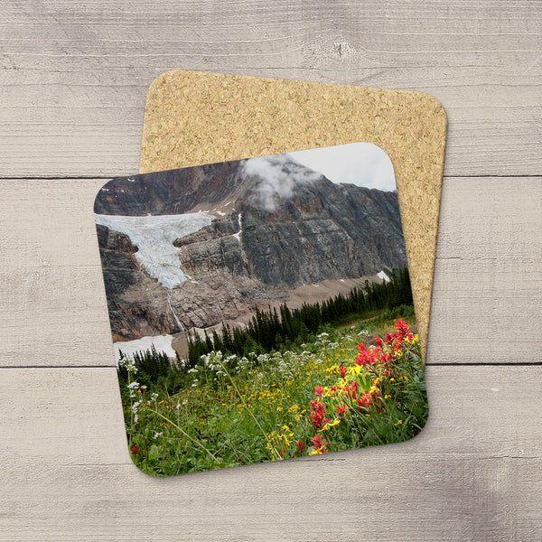 Photo Coasters of Angel Glacier in Mount Edith Cavell situated in Jasper National Park. Handmade in Edmonton, Alberta by Canadian photographer & artist Larry Jang.