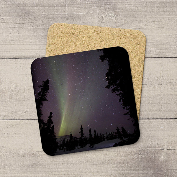 Photo Coasters of Northern Lights in mountains of Alaska.  Souvenirs of Aurora Borealis by Canadian Photographer, Larry Jang.