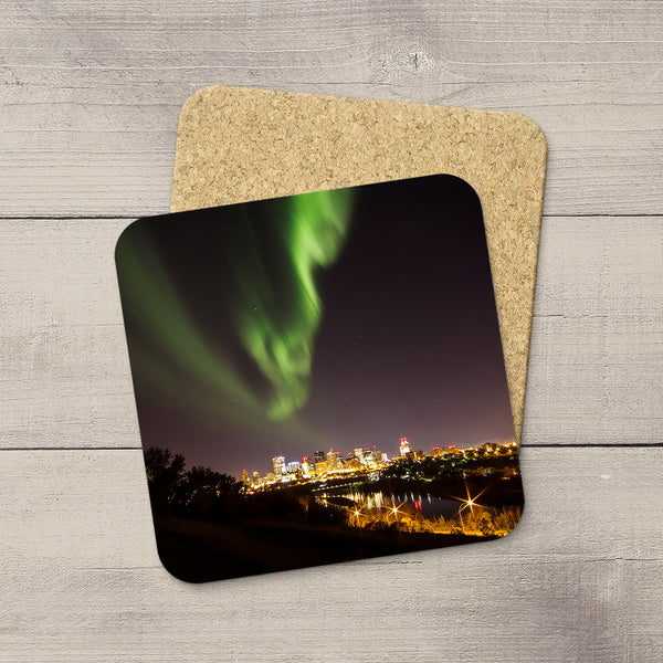 Photo coasters with a picture of Northern Lights over Edmonton. Handmade in YEG by acclaimed Canadian Photographer Larry Jang.