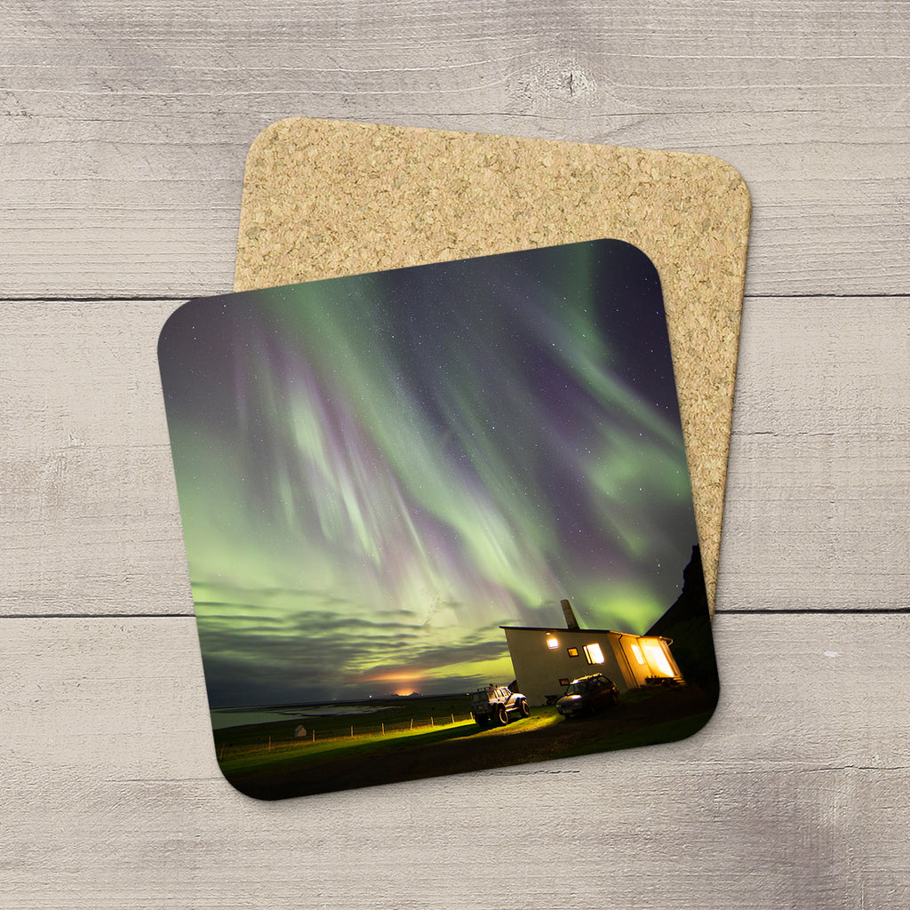 Photo Coasters of Northern Lights raining down on South Iceland. Souvenirs of Aurora Borealis by Canadian Photographer, Larry Jang.