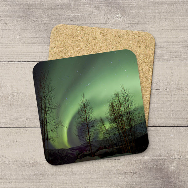 Photo Coasters of Shooting Star and Northern Lights in Alasks, USA. Souvenirs of Aurora Borealis by Canadian Photographer, Christina Jang.