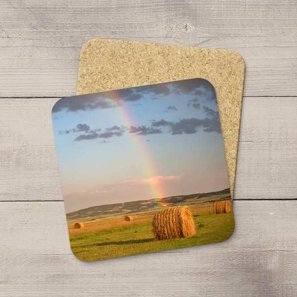 Photo Coasters of Hay Bale under an arcing rainbow in Canada. Souvenirs of Canadian Prairies. Handmade in Edmonton, Alberta by Canadian photographer & artist Larry Jang.