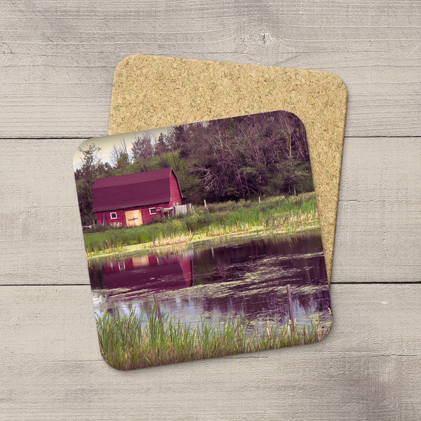 Home Accessories. Coffee coasters of a red barn by a lake in Alberta Canada by Larry Jang.