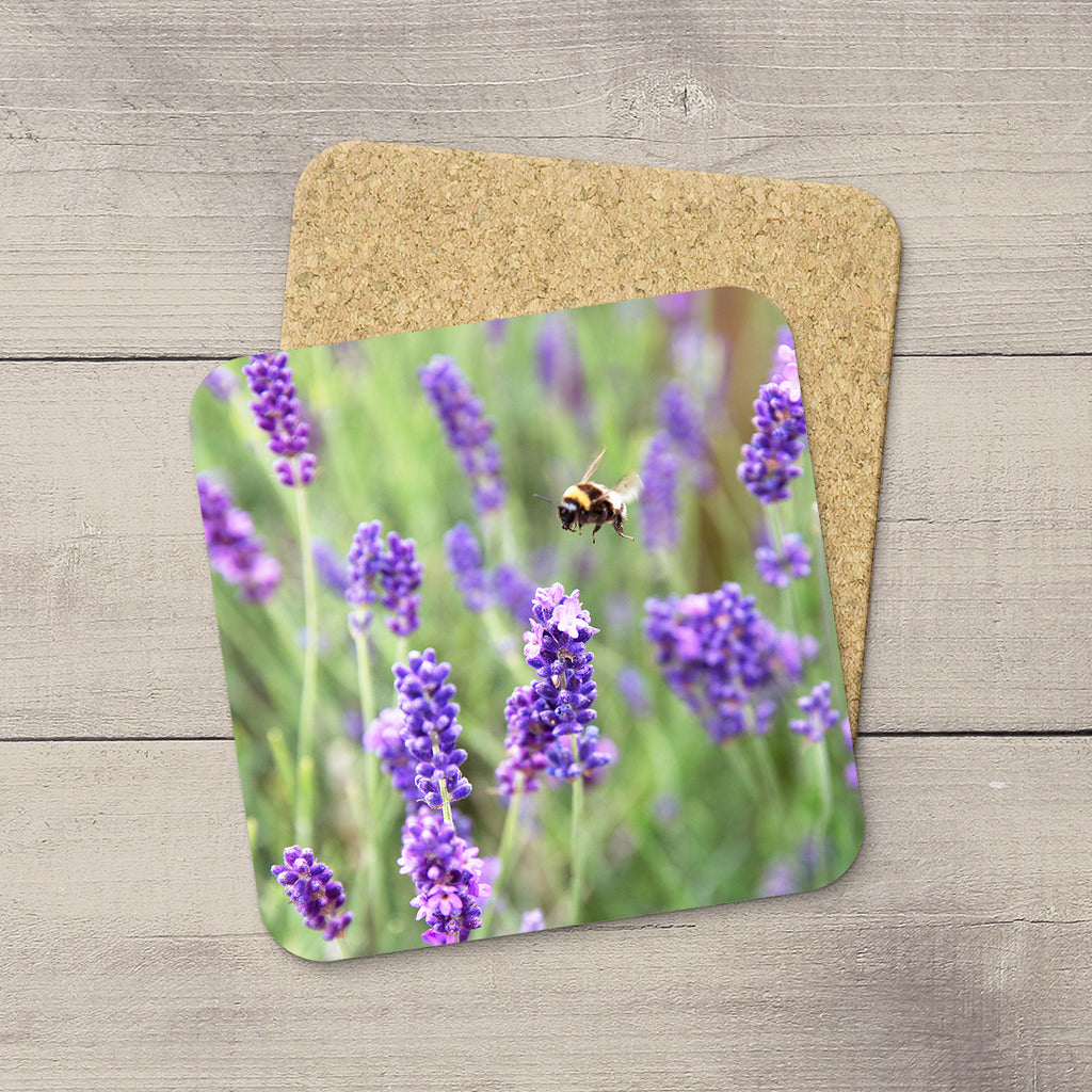 Beverage Coaster with a picture of a bumblebee pollinating lavender flowers By Edmonton based photographer, Larry Jang.