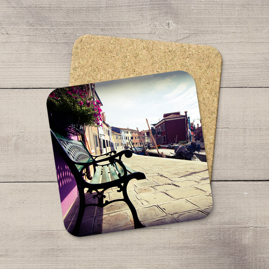 Photo of a park bench in Burano italy printed on beverage coasters by Larry Jang.