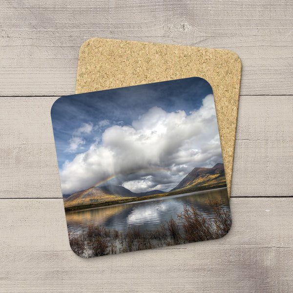 Photo Coasters of Bennett Lake in Yukon Territory. Mountain souvenirs. Handmade in Edmonton, Alberta by Canadian photographer & artist Larry Jang.