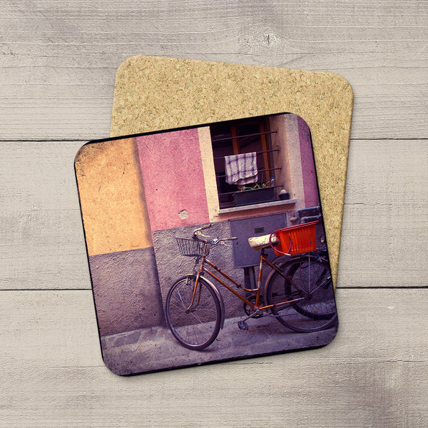 Drink Coasters for your coffee or beverages featuring a charming bike in Monterossi Italy by Larry Jang.