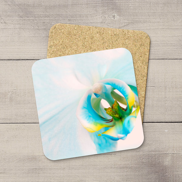 Beverage coasters featuring an intimate picture blue orchid By Edmonton based photographer, Larry Jang.