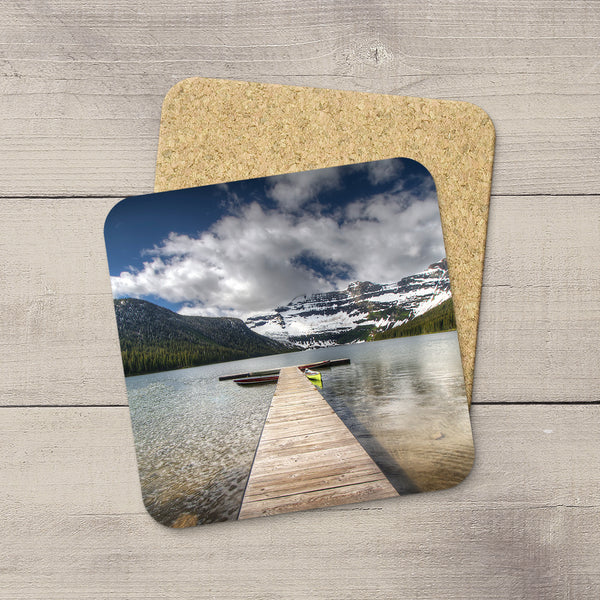 Photo Coasters of a pier in Cameron Lake in Waterton National Park in Canadian Rockies. Mountain souvenirs. Handmade in Edmonton, Alberta by Canadian photographer & artist Larry Jang.