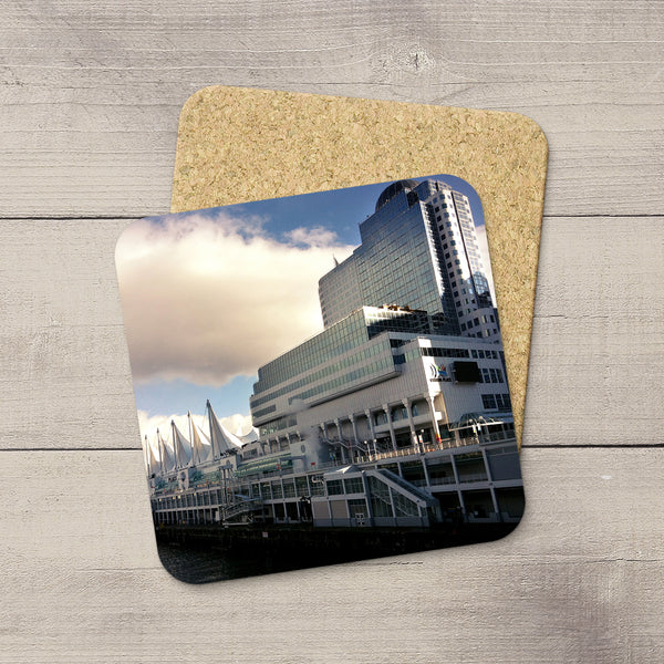 Picture of Canada Place in Vancouver BC printed on cork coasters by Larry Jang.