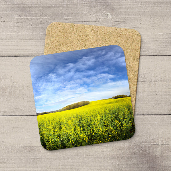 Photo coasters of an uphill canola field near Edmonton Alberta by Larry Jang.