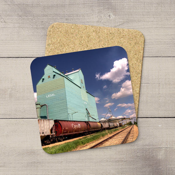 Drink Coasters of Canada Hopper train car & Legal Grain Elevator by Larry Jang