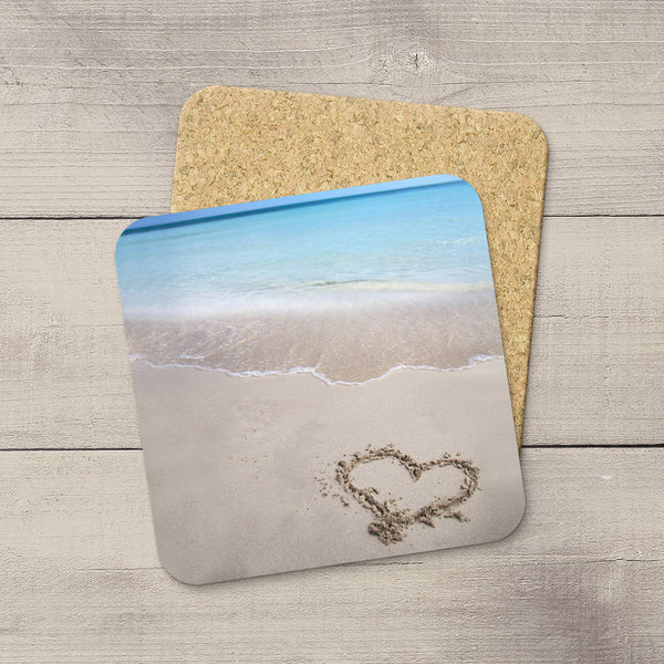 Photo Coasters of a heart drawn in the sand while on vacation in Cuba. Souvenirs & home accessories. Handmade in Edmonton, Alberta by Canadian photographer & artist Larry Jang.