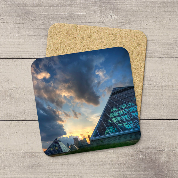 Table Accessories. Photo Coasters featuring an image of Muttart Conservatory at sunset. Handmade in YEG by acclaimed Alberta artist & Photographer Larry Jang.