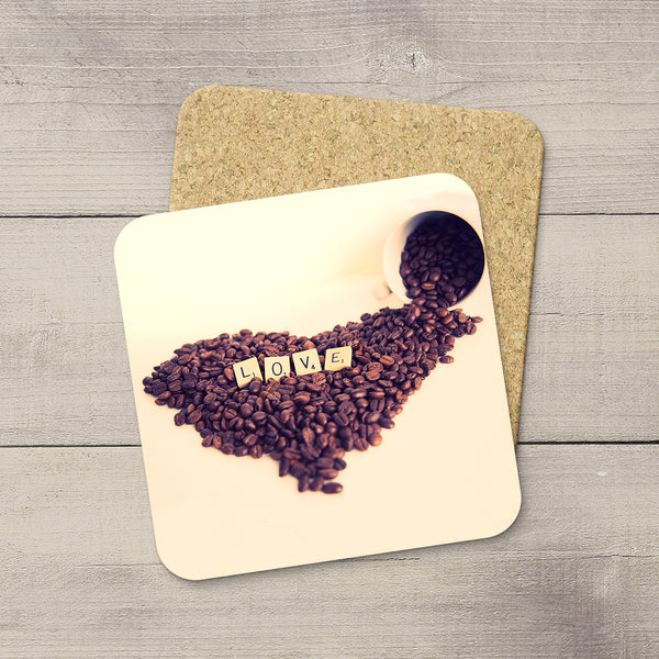 Kitchen Accessories. Photo Coasters of Heart Shaped Coffee Beans and Scrabble tiles that spell LOVE. Modern functional table decor by Edmonton artist & photographer.