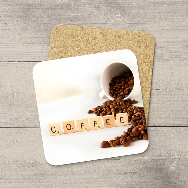 Kitchen decor ideas. Photo Coasters of Coffee Beans & Scrabble tiles spelling COFFEE. Modern functional table decor by Edmonton artist & photographer.
