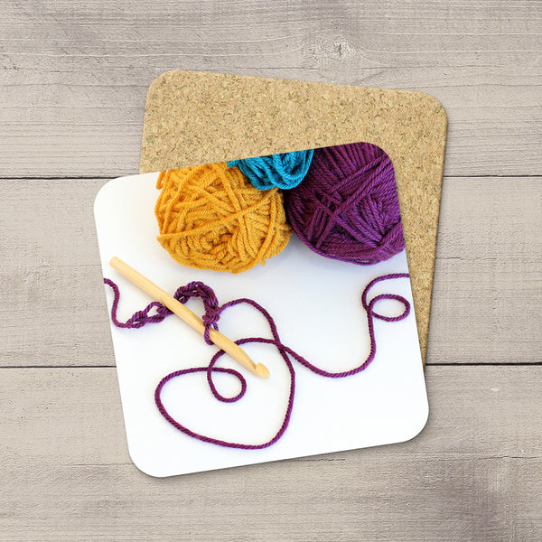 Craft Room Decor Ideas. Photo Coasters of Crochet hook & yarn balls. Modern functional art by Edmonton crafter & photographer Christina Jang.