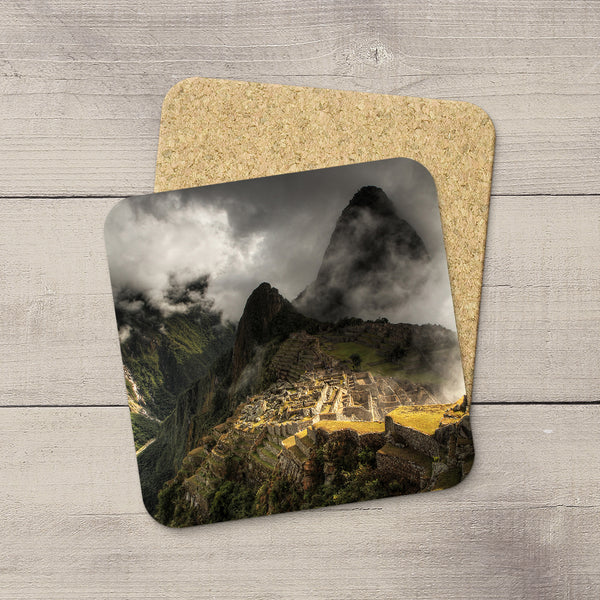 Beverage Coasters of Machu Picchu & Huayna Picchu Mountain in Peru, South America. Souvenirs & travel themed home accessories. Handmade in Edmonton, Alberta by Canadian photographer & artist Larry Jang.