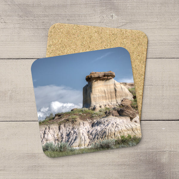 Photo Coasters of Hoodoos & badlands in Dinosaur Provincial Park, Canada. Handmade in Edmonton, Alberta by Canadian photographer & artist Larry Jang.