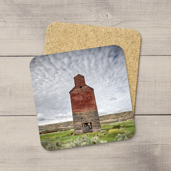 Cork Coasters of Grain Elevator in Dorothy Alberta by photographer, Larry Jang.