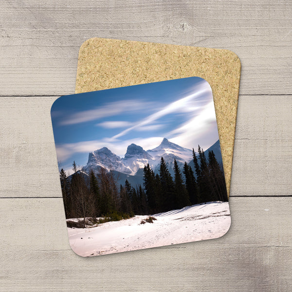 Photo Coasters of clouds drifting by Three Sisters mountain in Canmore. Souvenirs of Canadian Rockies. Handmade in Edmonton, Alberta by Canadian photographer & artist Larry Jang.
