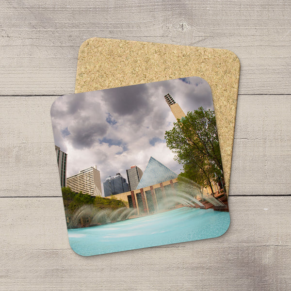 Home Accessories. Photo Coasters featuring an image of City Hall & fountain in summer. Handmade in YEG by acclaimed Alberta artist & Photographer Larry Jang.