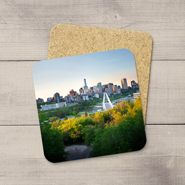 Photo Coasters featuring an image of Edmonton with an autumn glow. Handmade in YEG by acclaimed Alberta artist & Photographer Larry Jang.