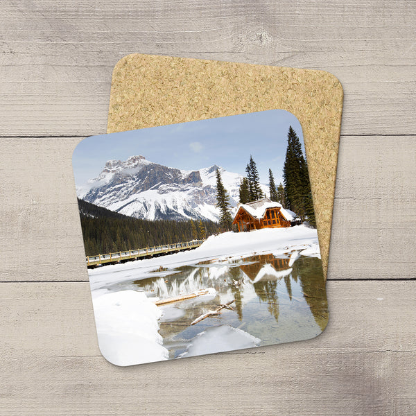 Photo Coaster of Emerald Lodge in YOHO National Park in British Columbia, Canada. Handmade in Edmonton, Alberta by Canadian photographer & artist Larry Jang.