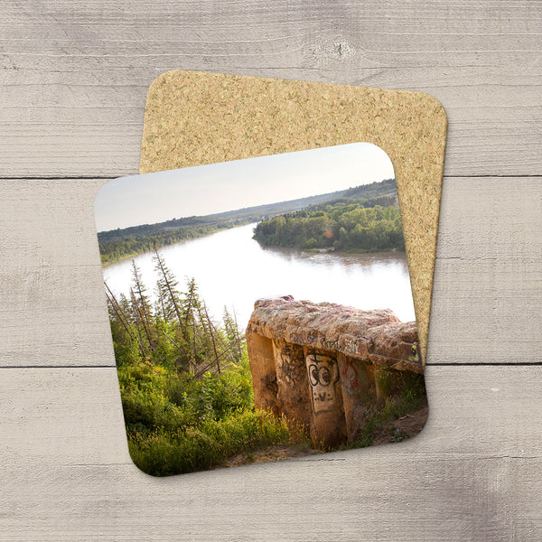 Table Accessories. Photo coasters featuring iconic End of the World. A retaining wall near Keilor Road. Handmade in YEG by acclaimed Alberta artist & Photographer Larry Jang.