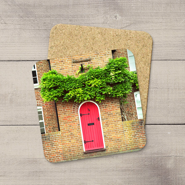 Photo coaster of a red door on a brick house in England by Travel Photographer Larry Jang.