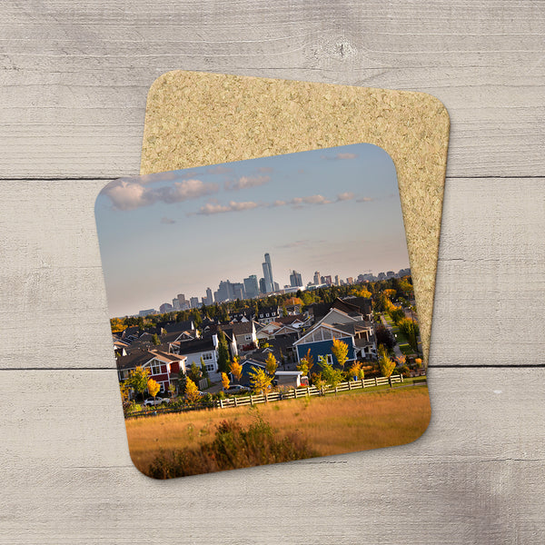 Image of City of Edmonton framed by Greisbach neighbourhood in the fall printed on cork coasters by YEG Photographer Larry Jang