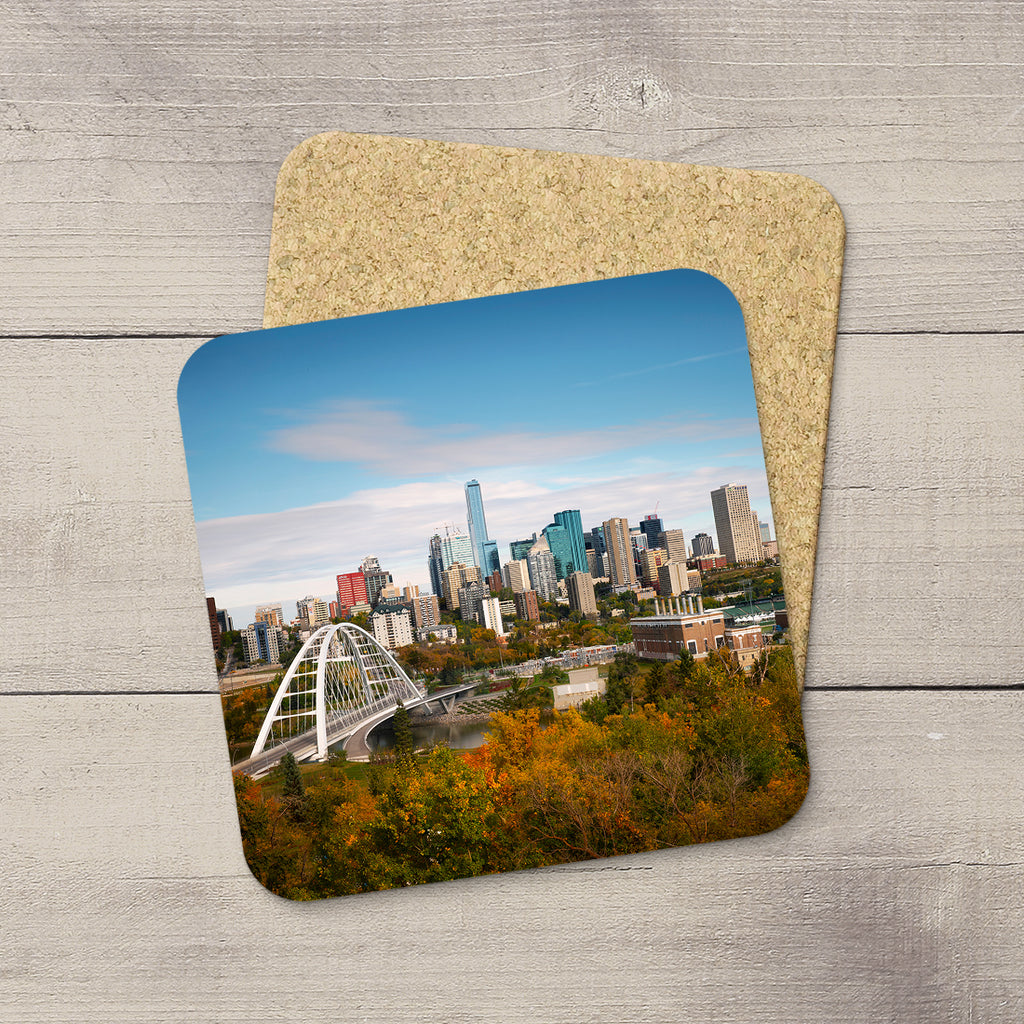 Drink Coasters featuring an image of Edmonton & Walterdale Bridge in Fall Time. Hand printed in YEG by acclaimed Canadian Photographer Larry Jang.