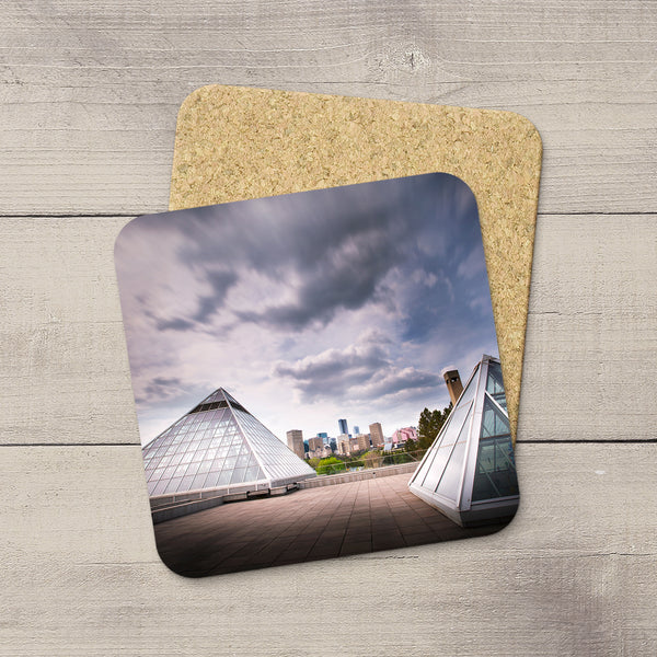Home Accessories. Drink Coasters featuring an image of Muttart Conservatory & Edmonton city skyline. Handmade in YEG by acclaimed Alberta artist & Photographer Larry Jang.