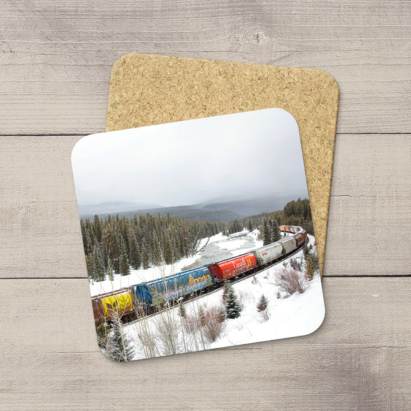 Photo Coaster of Freight Train of Grain Cars including Alberta & Canada Hopper Car in Canadian Rockies. Handmade in Edmonton, Alberta by Canadian photographer & artist Larry Jang.