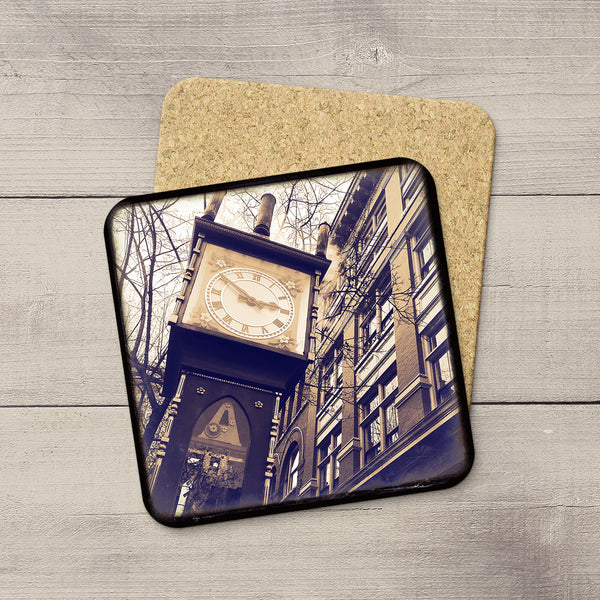 Picture of Gastown Steam Clock in Vancouver BC printed on photo coasters by Larry Jaag