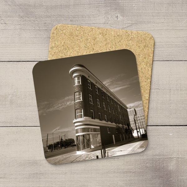 Drink Coasters featuring image of Gibson Block in Edmonton. Handmade in YEG by acclaimed Alberta artist & Photographer Larry Jang.