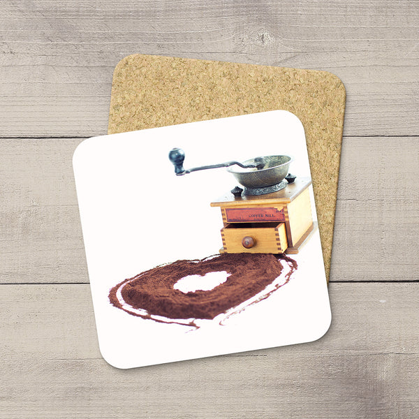 Kitchen Decor ideas. Photo Coasters of a Vintage Coffee Mill and ground beans in shape of a heart. Modern functional table decor by Edmonton artist & photographer Larry Jang.
