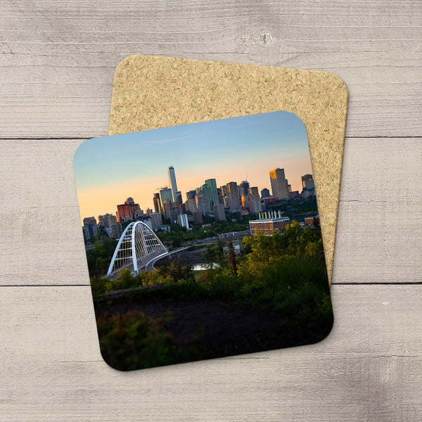 Home Accessories. Beverage Coasters featuring an image of Edmonton & Walterdale Bridge at sunset. Handmade in YEG by acclaimed Alberta artist & Photographer Larry Jang.
