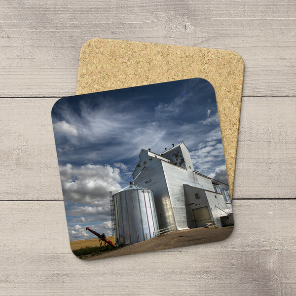 Home accessories. Coasters set of Milo grain elevator in Southern Alberta by Larry Jang.