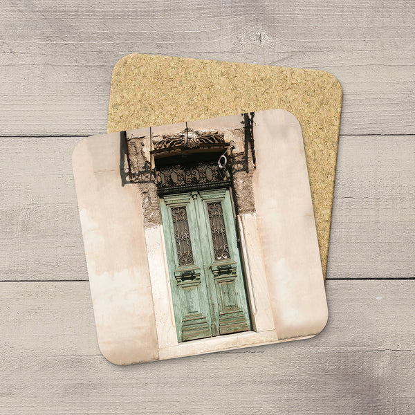 Cork Coasters of a green door in Athens Greece by Christina Jang.