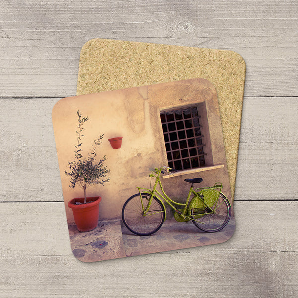 Picture of a Lime green bike in Cinque Terre Italy printed on photo coasters by Larry Jang