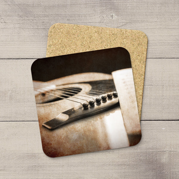 Music Room Accessories. Beverage Coasters of Vintage Yamaha Guitar & Sheet Music. For the musician.  Modern functional art by Edmonton artist & photographer Larry Jang.