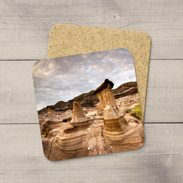 Photo Coasters of Hoodoos in Drumheller, Canada.  Souvenirs of Canadian Badlands. Handmade in Edmonton, Alberta by Canadian photographer & artist Larry Jang.