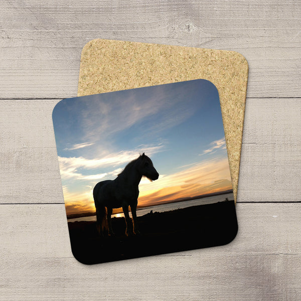 Sihouette picture of an Icelandic Horse printed on a drink coaster by Christina Jang