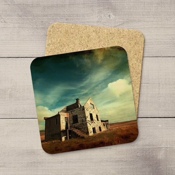Photo Coasters of an abandoned house in Iceland. Home accessories. Handmade in Edmonton, Alberta by Canadian photographer & artist Larry Jang.