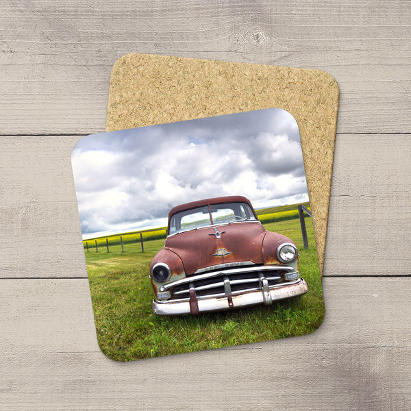 Rusty plymouth car sitting in a field in Alberta. Beverage Coasters by acclaimed Canadian Photographer Larry Jang.